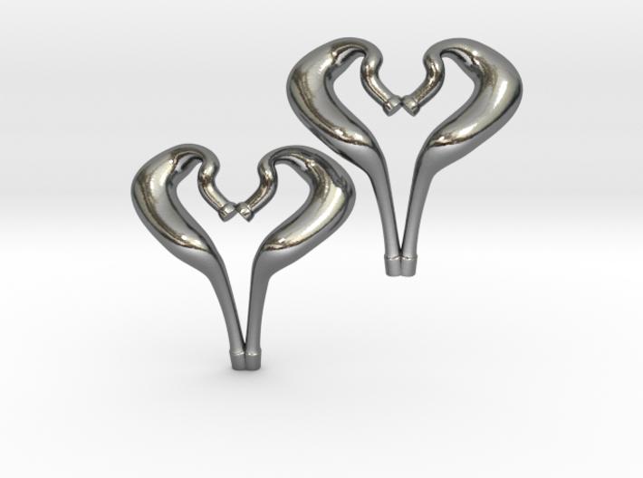 I love 2-Strokes Motorcycle Pipe Heart Earrings 3d printed