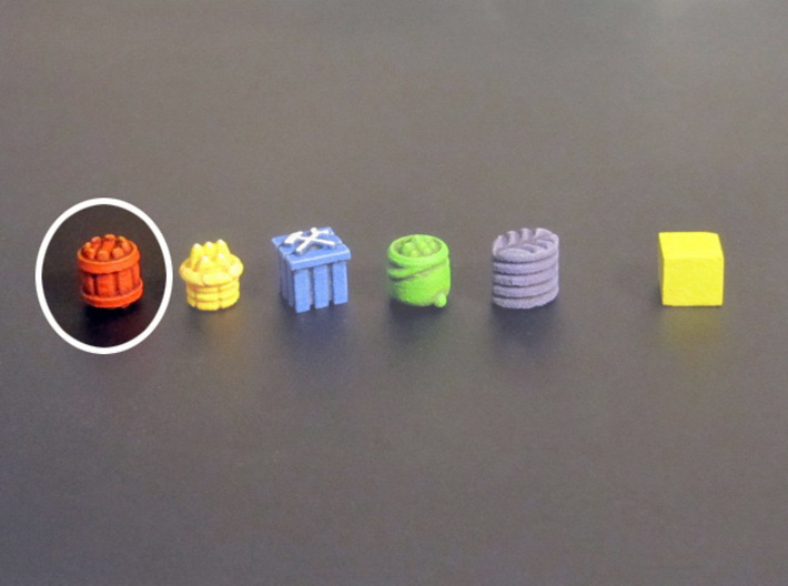 Barrel Tokens (13 pcs) 3d printed White Stong Flexible token, painted. Other tokens and 8mm cube for scale.