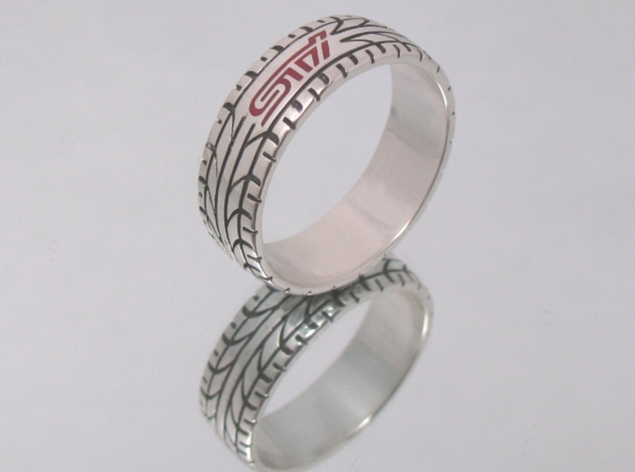 Subaru STI ring - 17 mm (US size 6 1/2) 3d printed Polished silver and red enamel