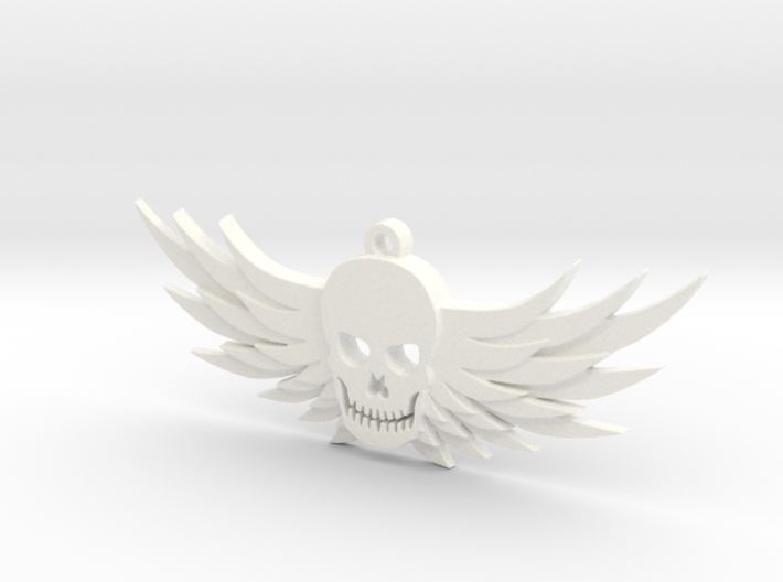 Winged Skull Pendant 3d printed