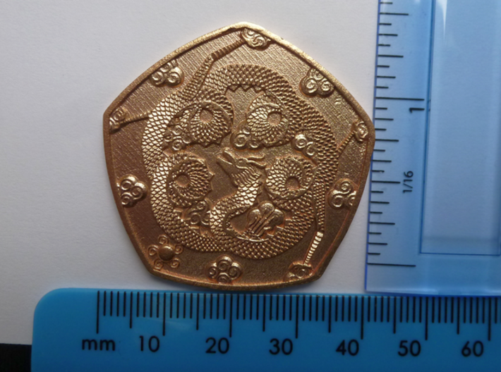 Detailed Dragon Coin 3d printed with scales