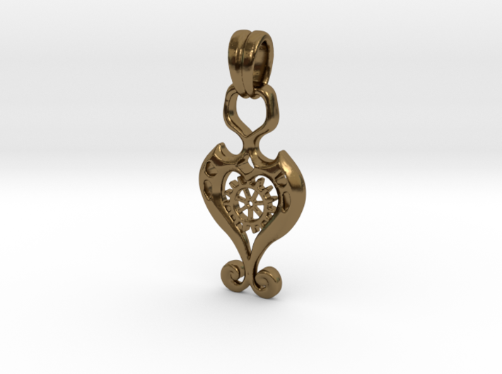 Pendant Higher Love V03 Steam 3d printed Romantic Pendant with Heart & Gear
