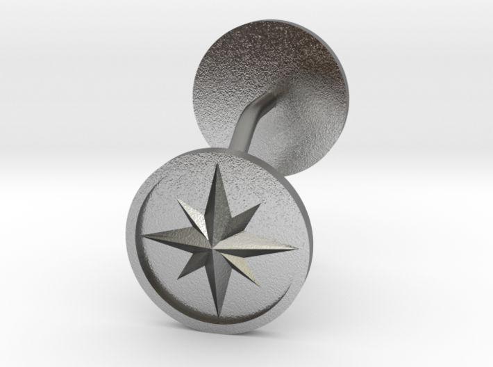 Compass cufflinks 3d printed
