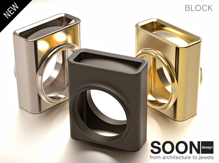 BLOCK RING - SIZE 7 3d printed