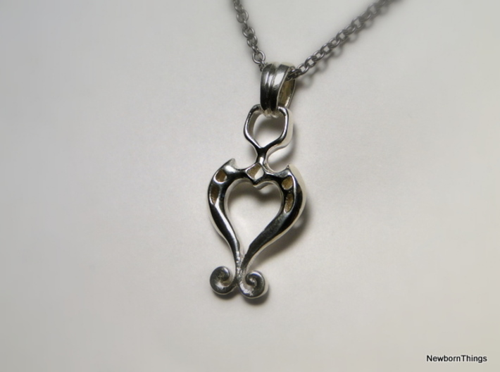 Pendant Higher Love V02 3d printed Romantic Pendant with Heart -Chain not included