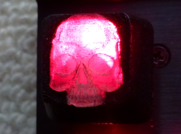 Cherry MX Skull Keycap 3d printed Custom Cherry MX Skull Keycap in Frosted Detail painted black