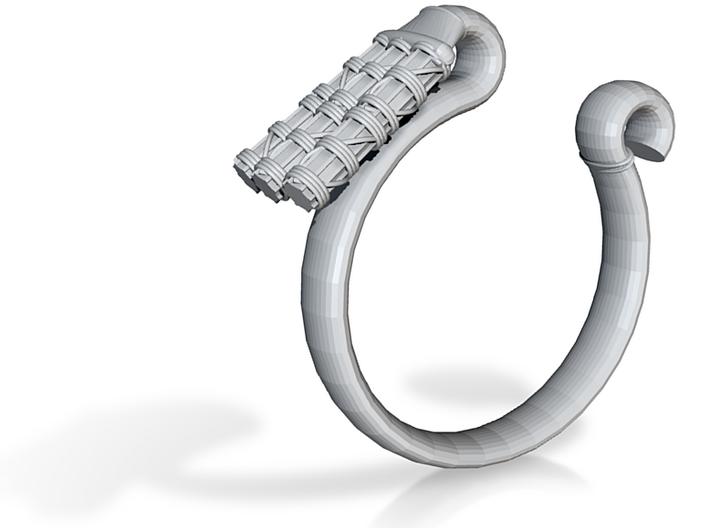 Pharaoh Staff & Tassel Ring - Sz. 8 3d printed