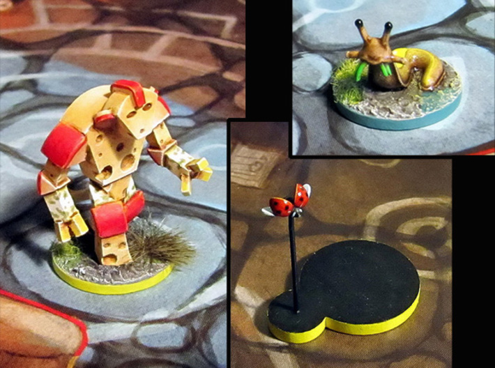 Cheese Golem, Ladybug, 4 Slugs - Mice & Mystics 3d printed Models hand-painted, after quick filing and assembly. (game board with flagstones copyright Plaid Hat Games).