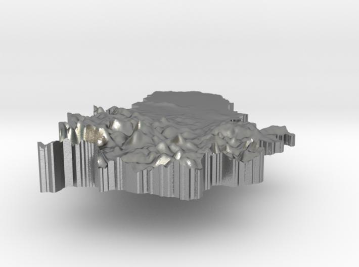 Serbia Terrain Silver Pendant 3d printed