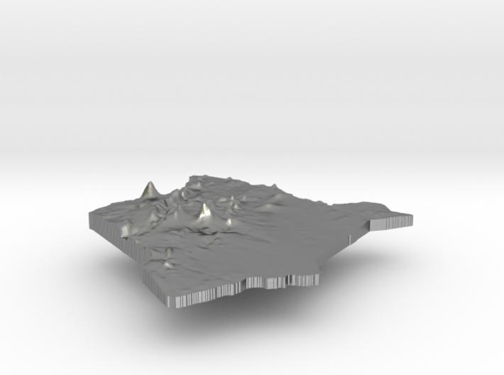 Kenya Terrain Silver Pendant 3d printed
