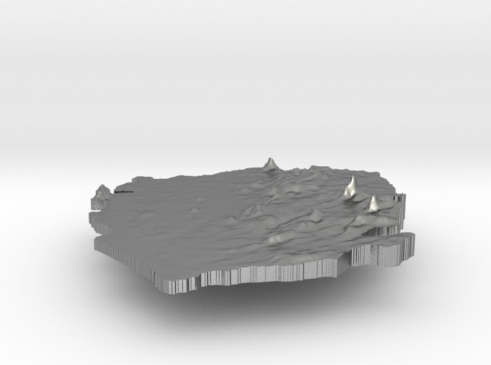Sierra Leone Terrain Silver Pendant 3d printed