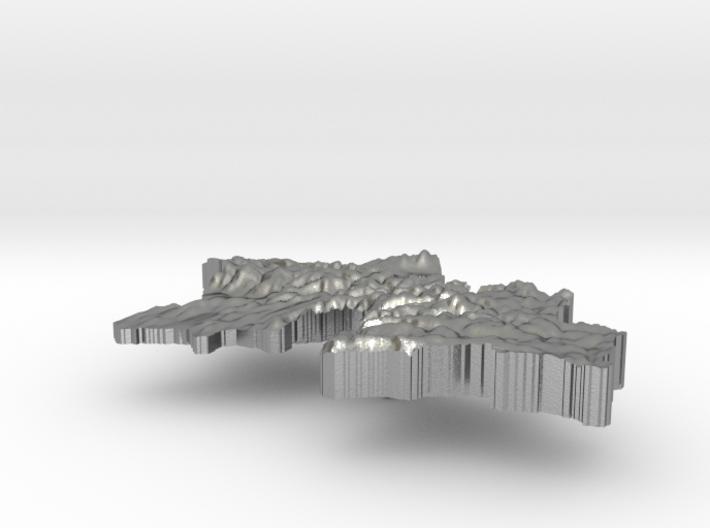 Tajikistan Terrain Silver Pendant 3d printed