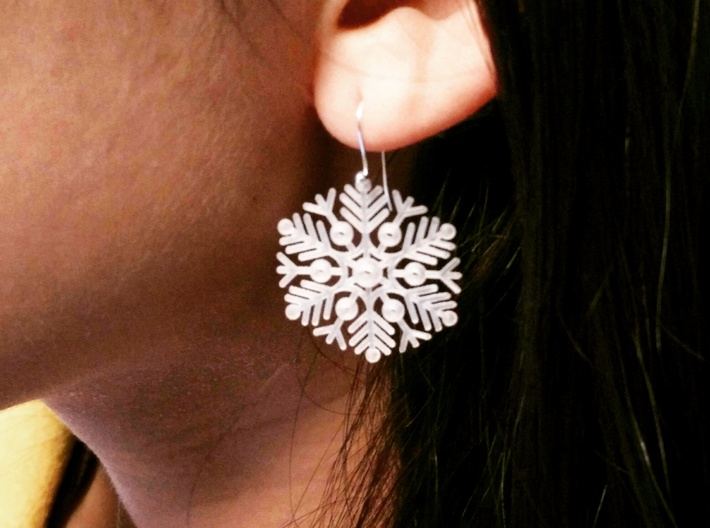 Snowflake Earrings 2 3d printed Printed with different design, same material. Finished with generic earring hooks.
