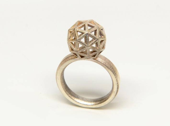 Geodesic Dome Ring size 7.5 3d printed Sterling Silver