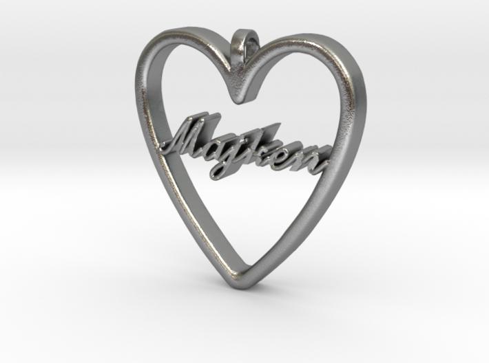"""Smykke - Hjerte med navn """"Majken"""" 3d printed"""