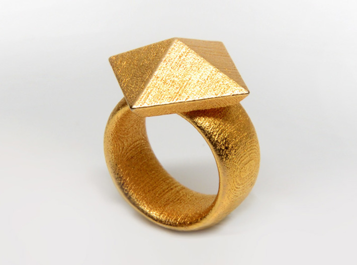 Pyramid Ring size 7 3d printed Gold Plated Glossy