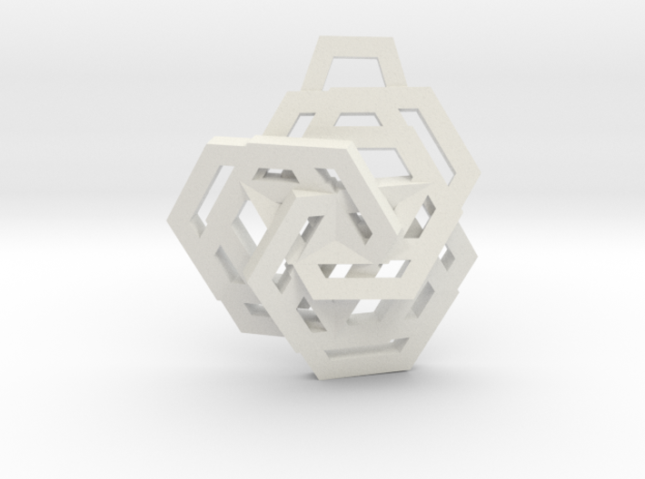 Triple Hexagon Pendant 3d printed