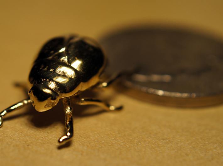 Super Tiny Gold Bug with Ring 3d printed Original print with no ring (polished brass).