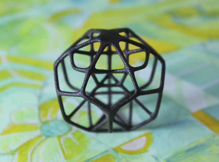 Dissected Polyhedron 3d printed Matte Black Steel