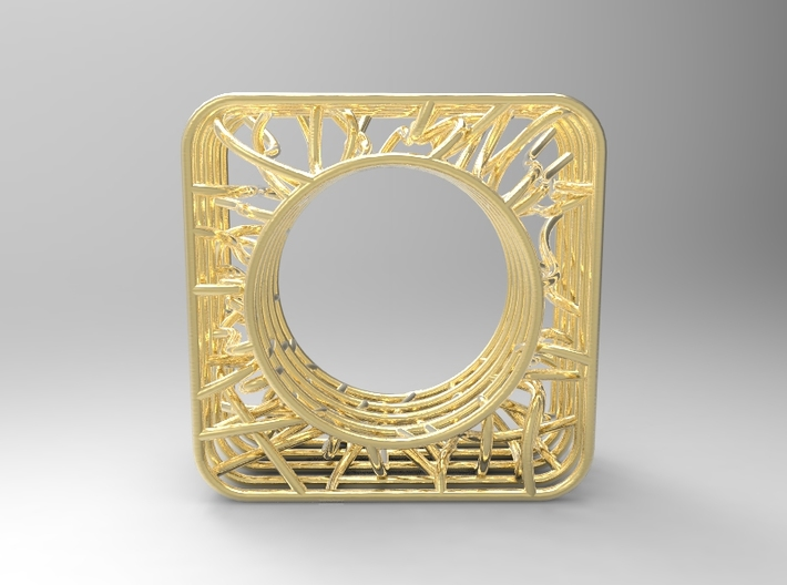 LOFF - wire cubic Ring and pendant 3d printed rendered by keyshot 5