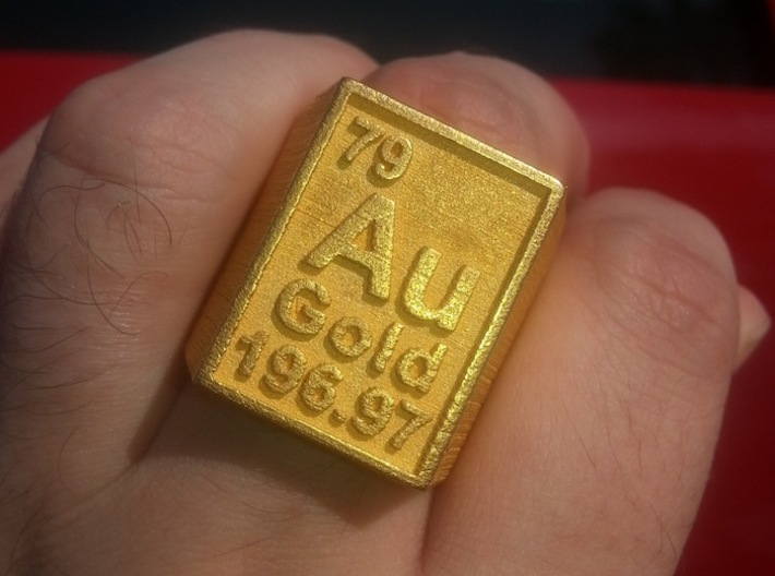 Gold Periodic Table Statement Ring Size 10 3d printed This Statement Peice Printed In Polished Gold Steel.