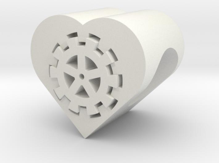 Steampunk Heart Bead (5mm Hole) 3d printed
