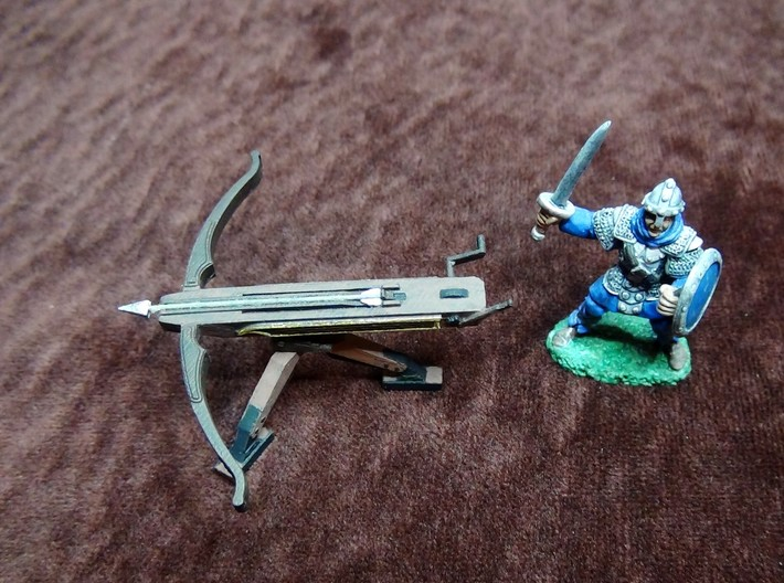 Ballista (28mm scale) 3d printed Ballista in Frosted Ultra Detail, painted with hobby paints. Shown with 28mm scale miniature copyright Reaper, Inc. (not included).
