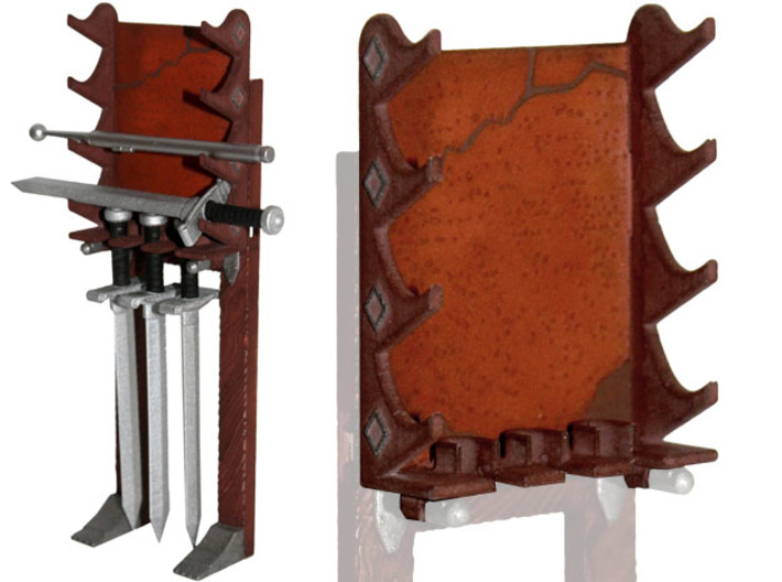 Swords Rack 3d printed Painted Prototype printed in White Strong & Flexible Polished