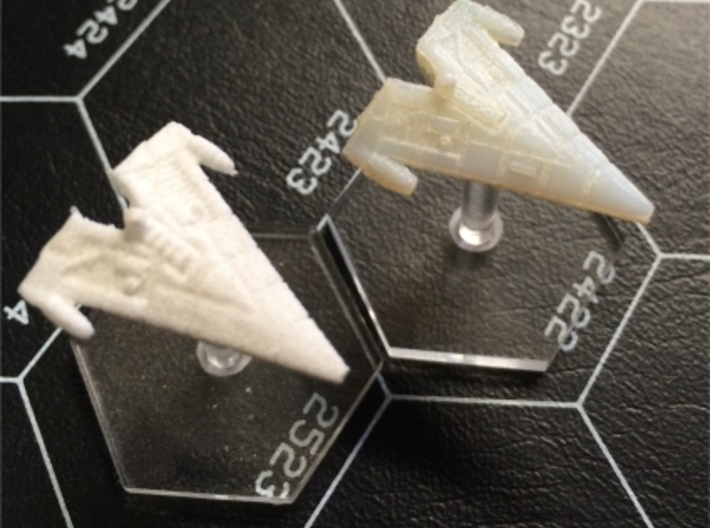 "Orion (KON) Corvette 3d printed Comparison of White Strong & Flexible and Transparent Detail with Litko 3/4"" flight bases."