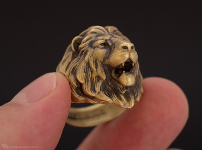 Lion Ring 3d printed Artificially aged brass