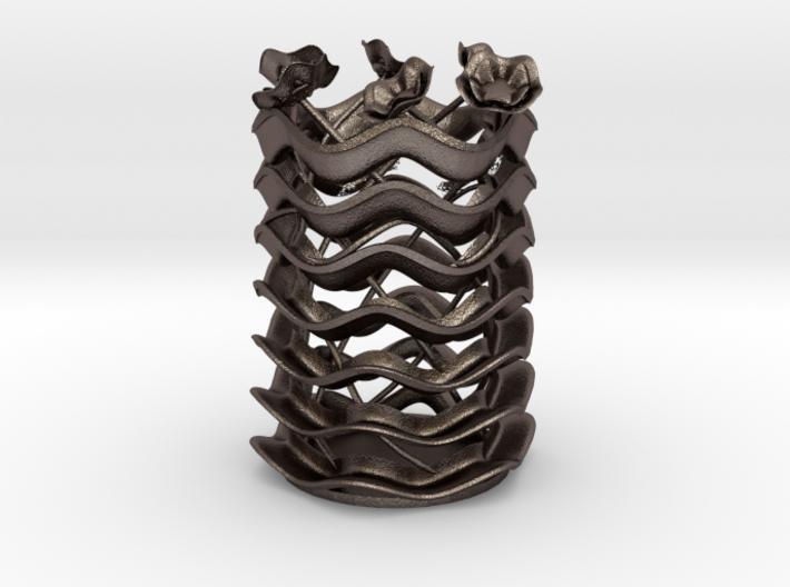 Wavy Vase & flowers 3d printed