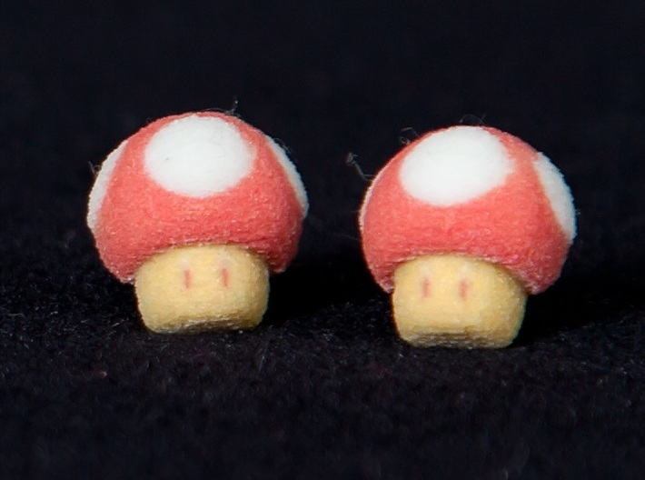 Super Mario Mushrooms Earrings 3d printed