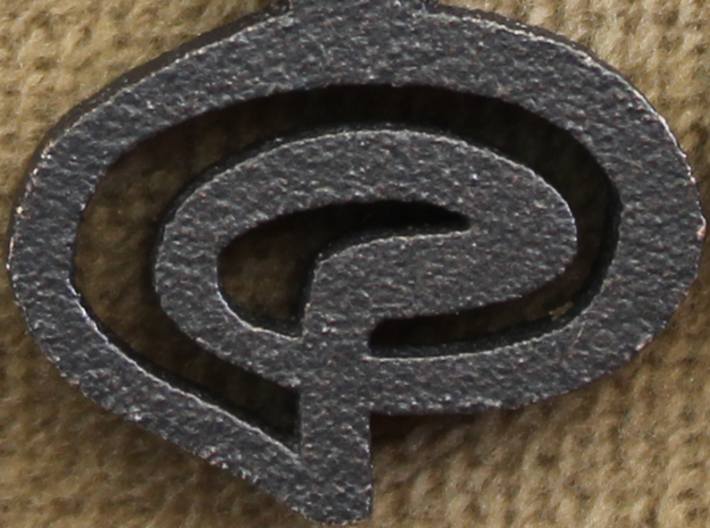 """Kaiidth"" (What Is, Is) Vulcan Script Pendant 3d printed Detail Shot; Pictured: Matte Black Steel"