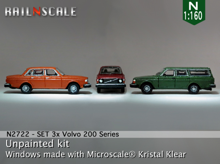 SET 3x Volvo 200-series (N 1:160) 3d printed
