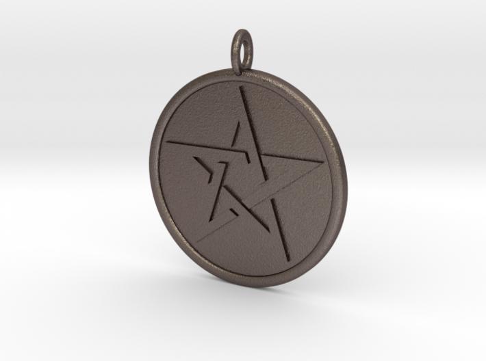 Solid Pentacle Pendant 3d printed