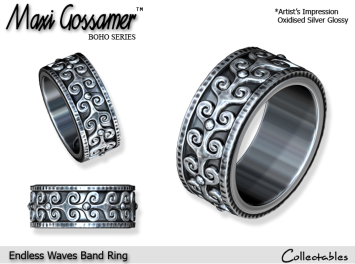 Endless Waves Band Ring 3d printed