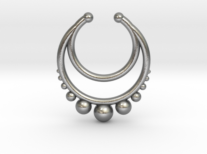 Faux Septum Dropped Ring with Spheres Under (wider 3d printed