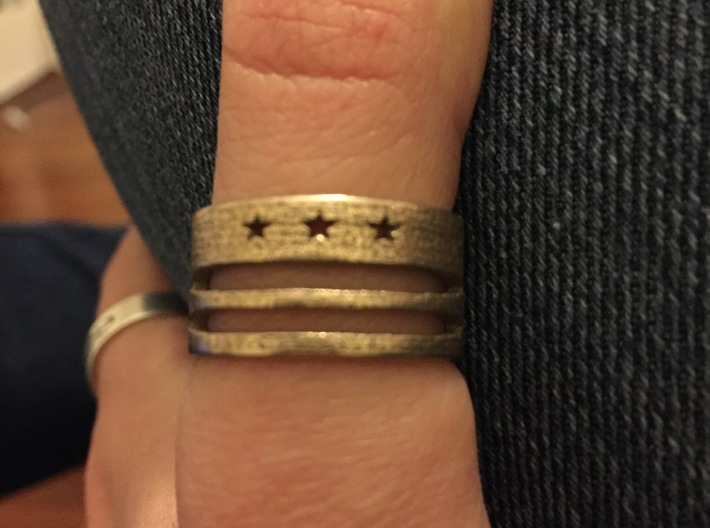 DC Ring with Map (Size 9) 3d printed 3 Stars / 2 Bars