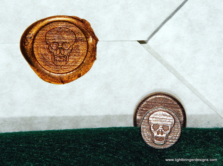 Skull Wax Seal 3d printed Skull wax seal with  impression in Gold sealing wax
