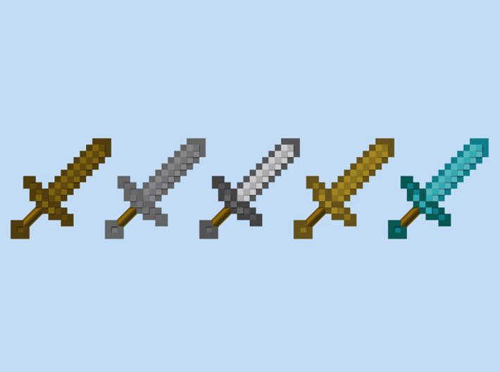 Mine Sword Pack 3d printed Render