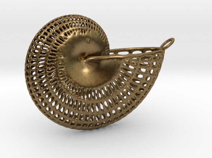 Nautilus Wireframe With Necklace Hoop 3d printed