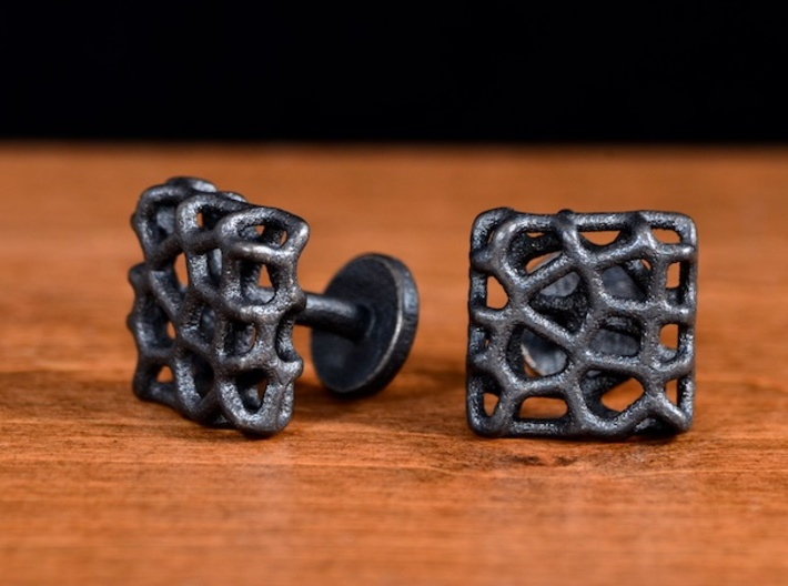 Organic Square Cufflinks 3d printed Nature-Inspired Square Cufflinks