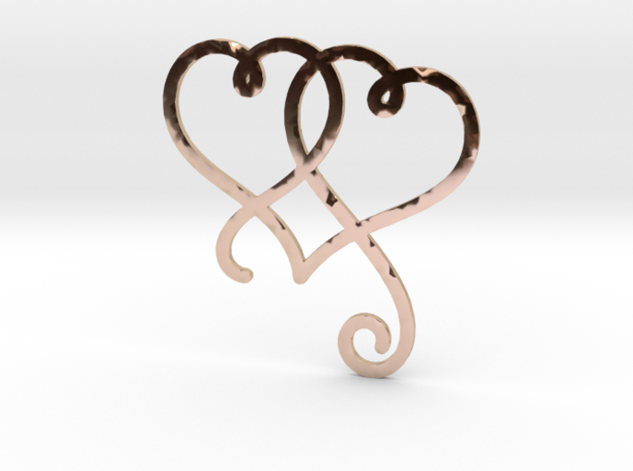 Linked Swirly Hearts (Thin) 3d printed