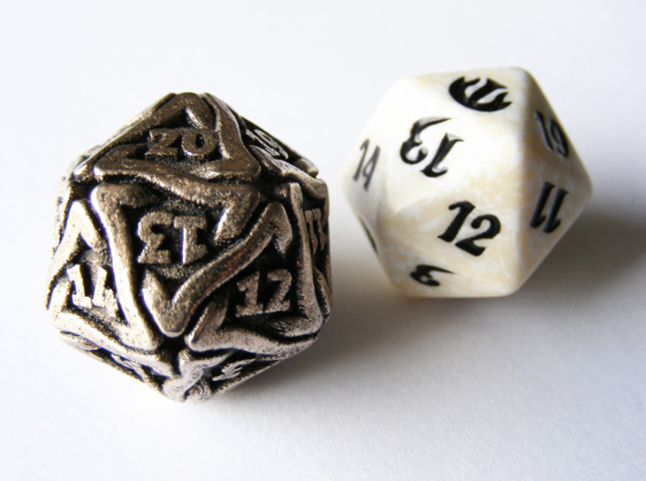 'Twined' Dice D20 Spindown Life Counter Die 24mm 3d printed Size comparison with a regular MTG Spindown die