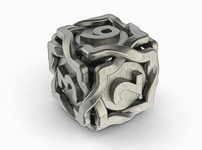 'Twined' Dice D6 Gaming Die 3d printed