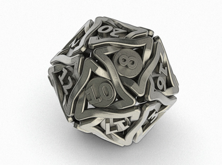 'Twined' Dice D20 Gaming Die (24 mm) 3d printed