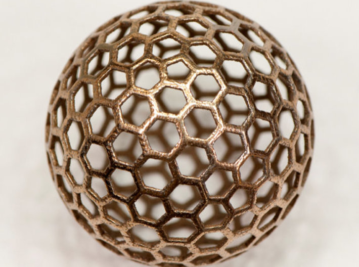 honeycomb sphere - 60 mm 3d printed Print in Stainless Steel