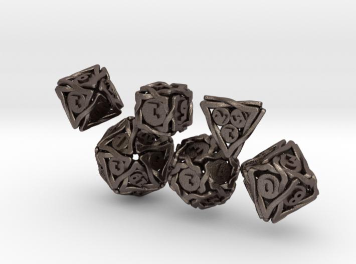 'Twined' Dice Gaming Die Set (6 dice) 3d printed