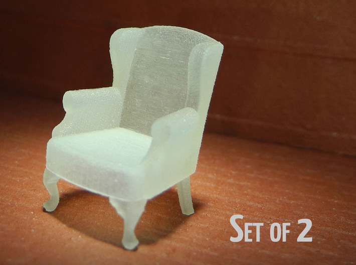 1:48 Queen Anne Wingback Chairs (Set Of 2) 3d Printed