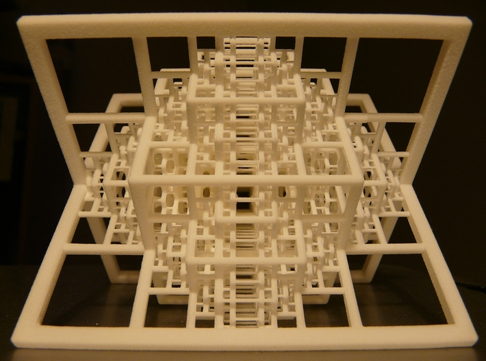 Beamed Octahedron Fractal 3d printed Printed in White Strong and Flexible